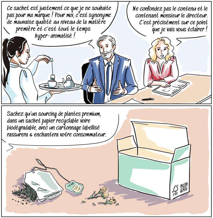 Les sachets de thés et infusions en papier visent un impact environnemental plus raisonné